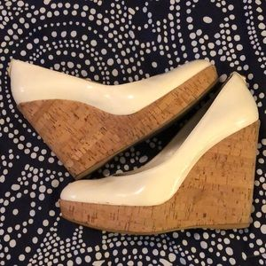 Stuart Weitzman Patent Leather White Wedges